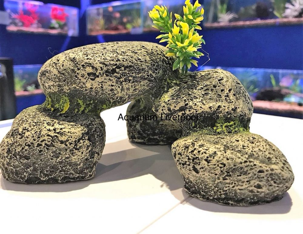 Grey Stone Effect Pebble Hideaway Aquarium Ornament  18cm